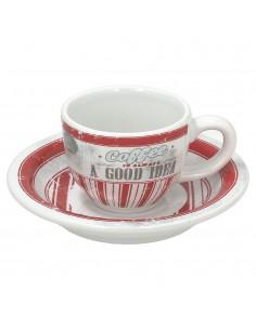 Tognano Old America 6x šálek na espresso - červený