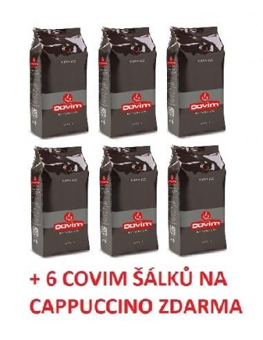Zrnková káva Covim Prestige 6 x 1 kg + 6 šálků Covim na cappuccino