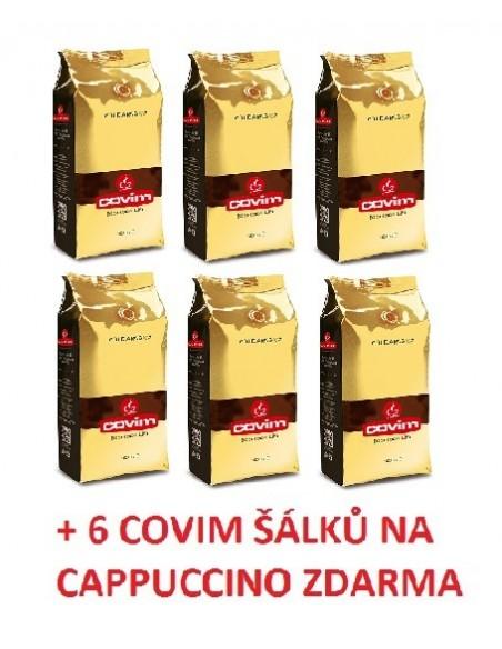 Zrnková káva Covim Gold Arabica 6 x 1 kg + 6 šálků Covim na cappuccino