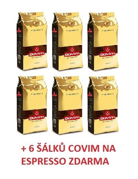 Zrnková káva Covim Gold Arabica 6 x 1 kg + 6 šálků Covim na espresso