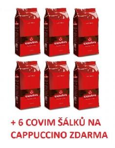 Zrnková káva Covim Granbar 6 x 1 kg + 6 šálků Covim na cappuccino